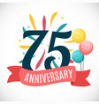 anniversary 75 years template with ribbon vector image vector image