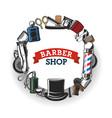 barbershop tools and gentlemen hairdresser salon vector image vector image
