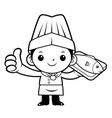 black and white happy chef mascot a fish and vector image vector image