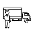 box truck and man design vector image vector image