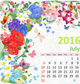 Calendar for 2016 July vector image vector image