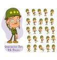cartoon army soldier boy big set for animation vector image vector image