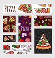 cartoon pizza banners template fast food label vector image vector image