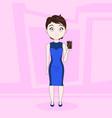 cartoon woman in elegant dress show empty screen vector image