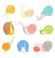 cheerful little garden snails set cute clams with vector image vector image