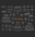 chocolate dessert collection with chocolate cakes vector image vector image