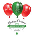 christmas post card with green and red balloons vector image