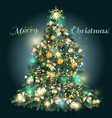 christmas tree with golden blue and silver baubles vector image