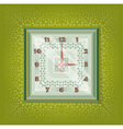 Clocks with pattern in green background vector image
