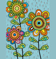colorful abstract folk art flowers and rain vector image
