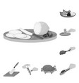 cooking food monochrome icons in set collection vector image
