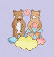 cute bears in love vector image