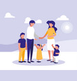 cute family with lanscape icon vector image vector image