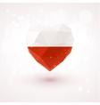 Flag of Poland in shape diamond glass heart vector image