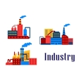 Flat factory industrial buildings vector image vector image