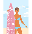 girl with surfboard vector image vector image