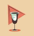 glass cup alcohol drink retro vintage vector image