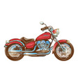 hand-drawn red vintage motorcycle classic chopper vector image