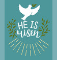 hand lettering bible verse he is risen easter vector image vector image