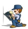 Handyman Nailing Blue vector image vector image