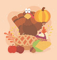 happy thanksgiving turkey cake corn apples acorn vector image vector image