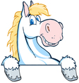 happy white and blond horse over a white sign vector image vector image