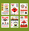 japanese food and sushi menu banner template set vector image vector image
