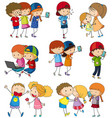 many kids using computer and cellphone vector image vector image