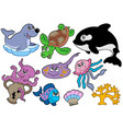 marine fishes and animals collection vector image