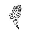 pineapple baseball player batting with bat mascot vector image vector image