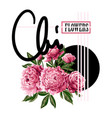 print for t-shirt or poster with pink peonies vector image