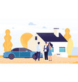 property concept happy young couple buys a house vector image vector image
