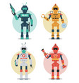 robot character set police construction medical vector image vector image