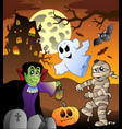 scene with haunted house 1 vector image vector image