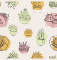 seamless pattern with succulents growing in pots vector image vector image