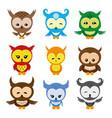 set cute owls vector image vector image