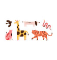 set doodle abstract trendy wild animals and vector image