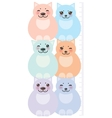 set funny cats pastel colors on white vector image vector image