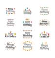 set happy birthday greeting cards cute postcard vector image vector image