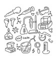 set laboratory equipment in black and white vector image vector image