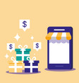 shopping online with smartphone and set icons vector image vector image
