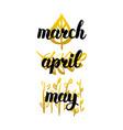 spring months handwritten lettering vector image vector image