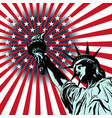 statue liberty on american flag background vector image