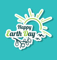 sticker happy earth day sunny birds vector image