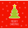 Striped Christmas tree with snowflakes vector image vector image