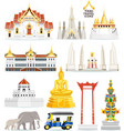 thai famous landmark icons vector image