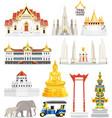 thai famous landmark icons vector image