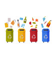 waste sorting set different colorful trash vector image vector image