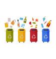 waste sorting set different colorful trash vector image