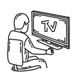watching tv icon doodle hand drawn or outline vector image